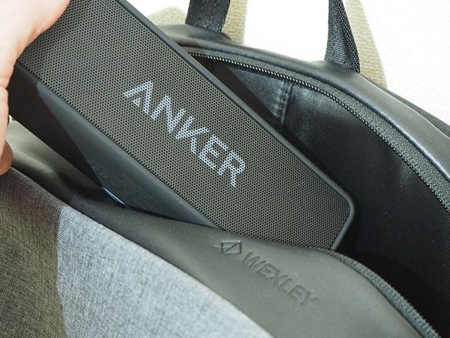 Anker「Soundcore2」をリュックに入れる画像